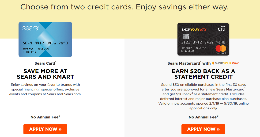 Apply for a Sears Credit Card or a Sears Mastercard®