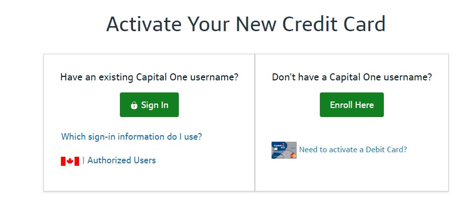 capitalone credit card activation