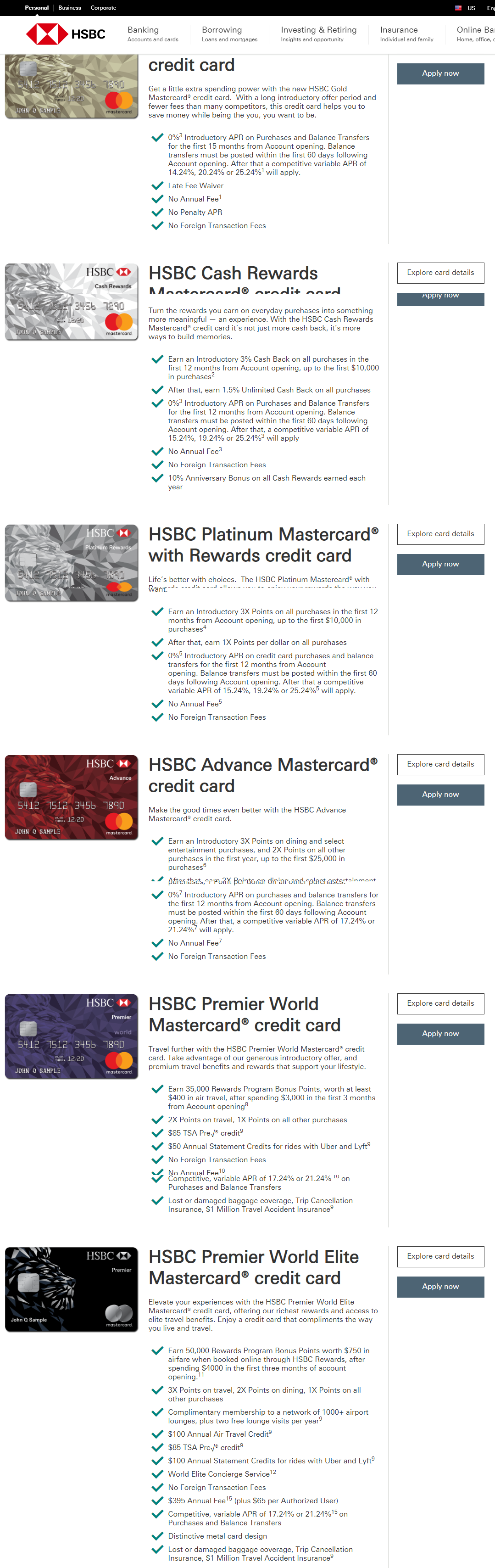 HSBC Bank Credit Card Benefits USA