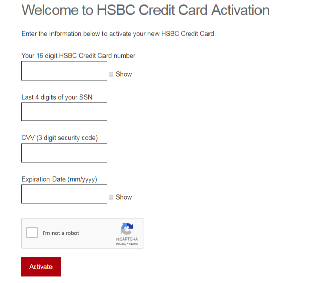 HSBC Credit Card Activation