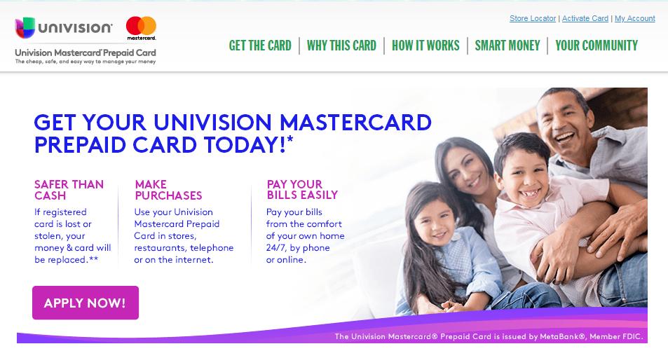 Univision Prepaid Mastercard Apply