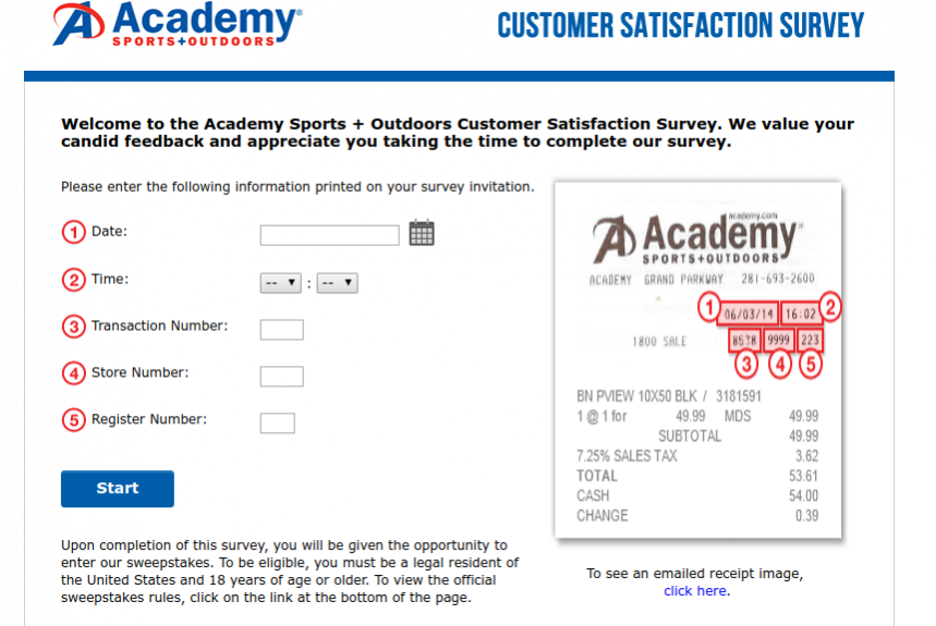 Academy Sports Outdoors Customer Satisfaction Survey