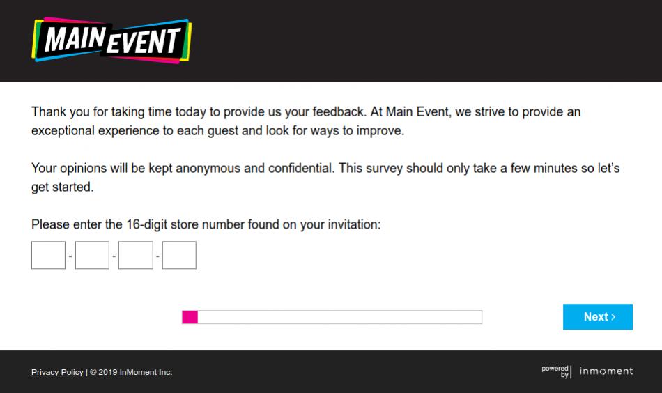 Main Event Guest Satisfaction Survey