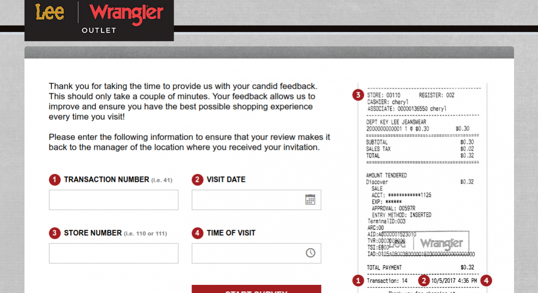 Lee Wrangler Feedback Survey